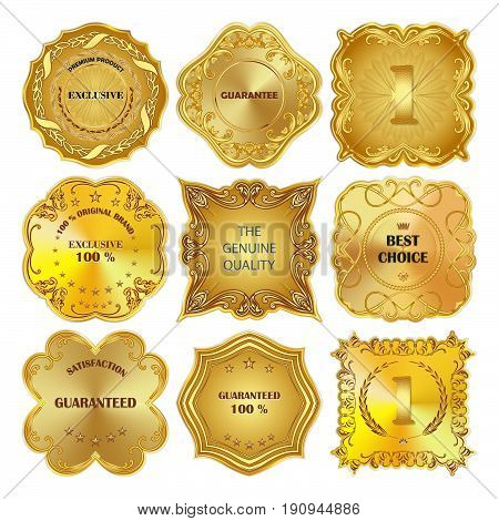 Set of vector golden metal design elements on white background.