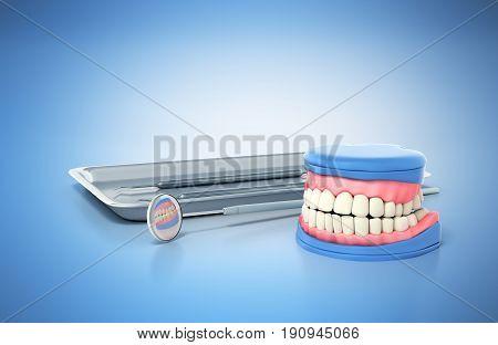 Dental Concept Dental Tools And Denture On A Blue Background 3D Render