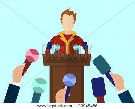 Press Conference Public Speaker vector illustration in flat style. Live report Breaking news concept. Many hands of journalists with microphones and man standing at the rostrum and giving interview.