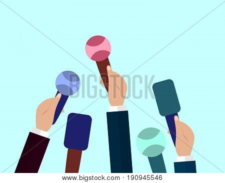 Set of Microphones. Journalism concept Mass Media TV Interview Breaking News press conference concept. Microphones in reporter hands. Vector Flat design.