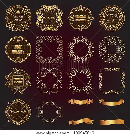 Set of vintage gold design elements-vector labels frames ribbons.