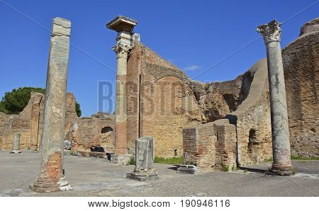 The ruins of Ostia Antica near Rome Italy. It was Rome's ancient port before the river silted it fell into decay with the end of the Roman empire and was abandoned in the 9th century