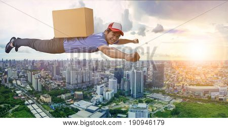 delivery man flying over city scape with container box on back for logistic and shipping cargo service business