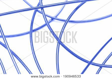blue cable on a white background . A photo