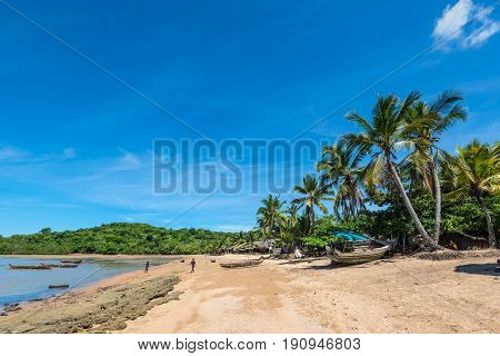 Ampasipohy Nosy Be Madagascar - December 19 2015: Traditional fishing village Ampasipohy on the island of Nosy Be Madagascar.