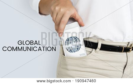 Graphic of global communication connection technology on mobile phone