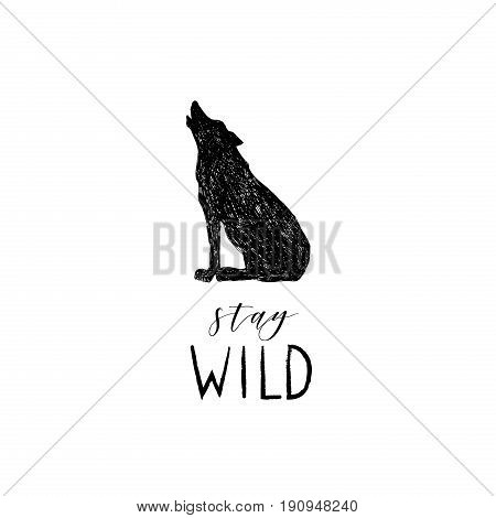 Stay wild lettering with wild forest volf