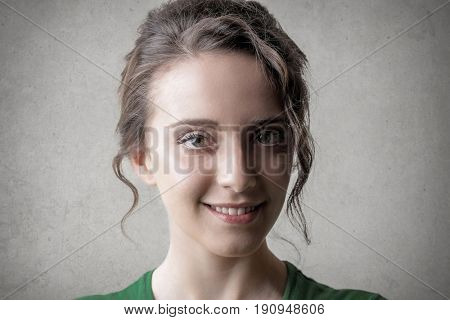 Portrait of smiling fresh faced woman