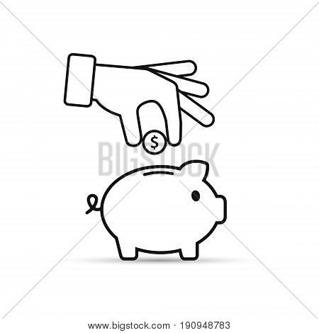 Piggy bank and hand with coin outline icon. Vector.