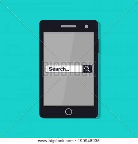 Search page on mobile phone screen illustration. Search in web browser. Vector.