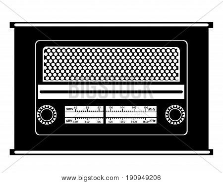 radio old retro vintage icon stock vector illustration black outline silhouette isolated on white background