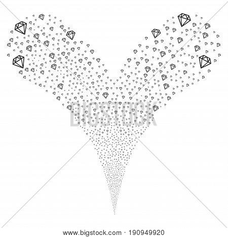 Diamond source stream. Vector illustration style is flat gray iconic diamond symbols on a white background. Object fountain created from random symbols.