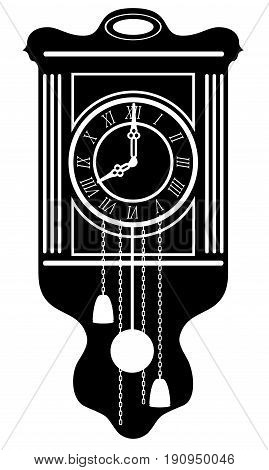 clock old retro vintage icon stock vector illustration black outline silhouette isolated on white background