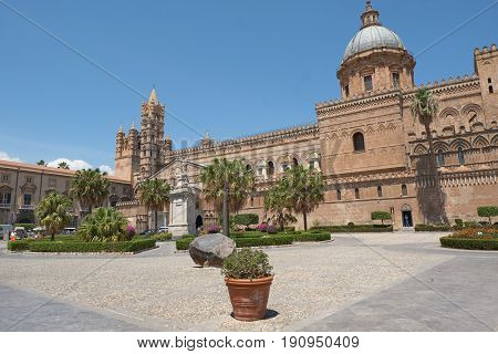 PALERMO, ITALY - MAY 31, 2017: Palermo Cathedral is the cathedral church of the Roman Catholic Archdiocese of Palermo, Sicily, Italy.