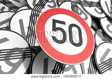 Reaching The 50Th Birthday Illustrated With Traffic Signs
