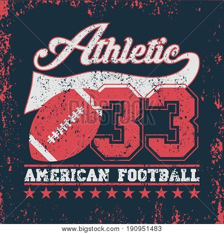T-shir american sports original sport usa athletic sport vintage T-shirt inscription typography graphic design emblem