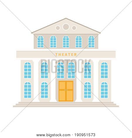 Theatre building with columns cartoon icon on white background. Vector illustration
