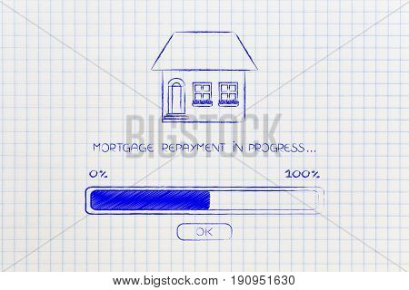 Mortgage Repayment House With Progress Bar Loading