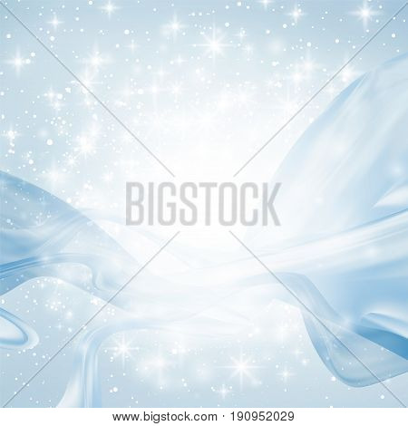 Abstract blue background with light, lines, sparks and stars. silk ribbons are curving and flying. Copyspace for your text. blurred and bokeh effect. vector illustration.