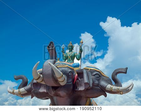Indra on Erawan elephant in Wat Saman Rattanaram Chachoengsao province of thailand. (clipping path)