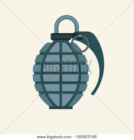 Grenade icon in flat color style. Military army explosive fragmented attack throw