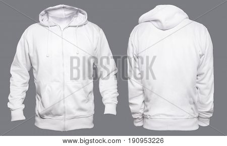 Blank sweatshirt mock up template front and back view isolated on grey plain white hoodie mockup. Hoody design presentation. Jumper for print. Blank clothes sweat shirt sweater