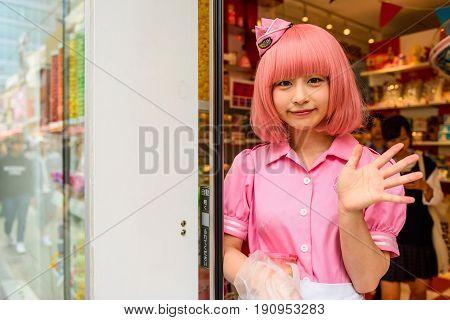 TOKYO JAPAN - MAY 7 2017: Unidentified cosplay girl dress anime characters costume at akeshita street in Harajuku every Sunday.