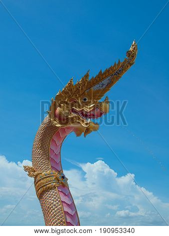 (Close up) Statue of Naga in Wat in Thailand.