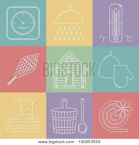 Elements of Russian banya. Sauna icons set. Vector illustration.