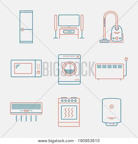 Major appliances icons. Thin line style. Modern flat design. Vector illustration.