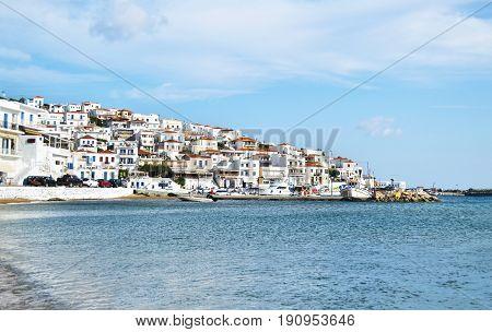 BATSI ANDROS GREECE, JUNE 26 2015: landscape of Batsi in Andros island Cyclades Greece. Editorial use.