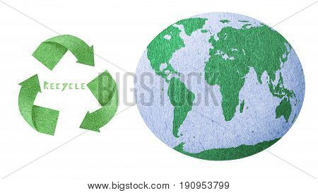 Recycle icon Save energy concept love the earth paper texture recycle and the earth icon isolate with white background and include save with path files.