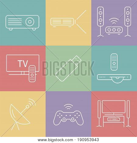 Home theater line icons. House technology. Vector illustration.