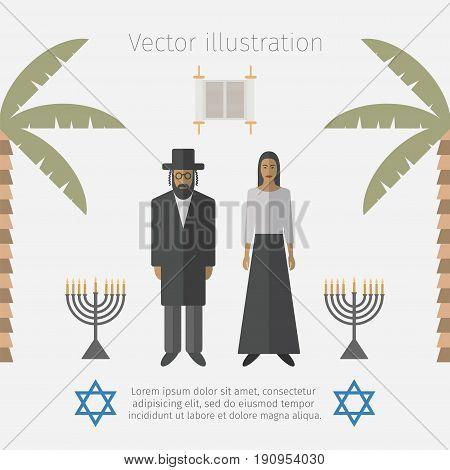 Israel icons set. Jewish people. Vector illustration