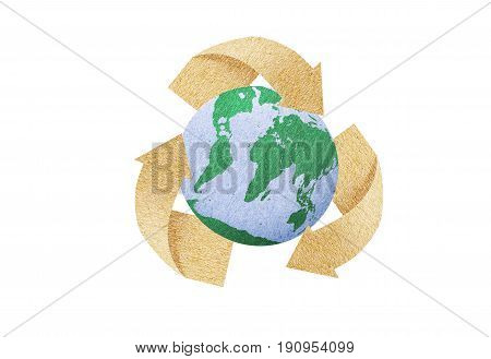 Recycle icon Save energy concept love the earth paper texture recycle and the earth icon isolate with white background and incude save with path files.