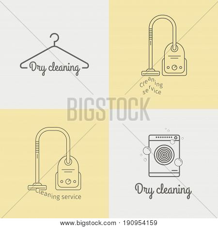 Cleaning services. Dry cleaning. Thin line icon set. Vector illustration