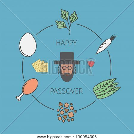 Passover seder plate with line icons. Vector illustration.