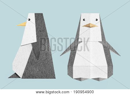 Animal object cute penguin icon texture paper craft Front and beside view object isolate with blue background and include save with path files.