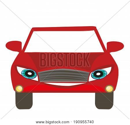 Car cartoon character on white background , vector illustration