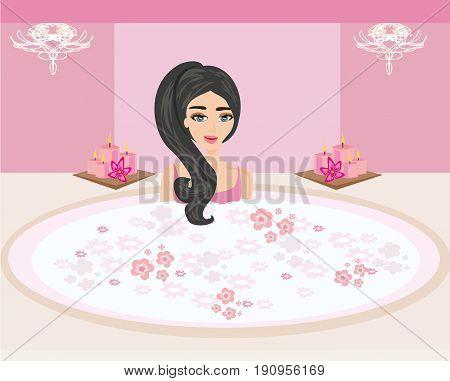 Woman bathing in bathtub in beautiful bathroom , vector illustration