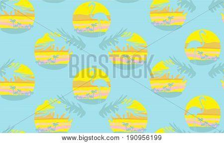 Seamless flamingo bird pattern , vector illustration
