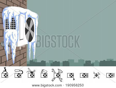 Repair of air conditioner in winter. Outdoor unit of the air conditioner on a brick wall of a multi-storey building. The picture has the proportions of a business card.