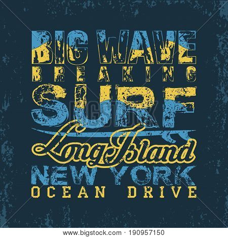 Surfing NYC T-shirt surfing long Island water sports T-shirt inscription typography graphic design emblem