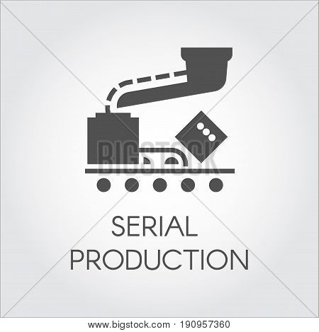 Black icon of serial production concept. Modern equipment for factories and plants. Vector illustration in flat design on a gray background
