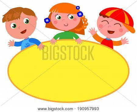 Three cartoon children with yellow oval empty label. Vector illustration