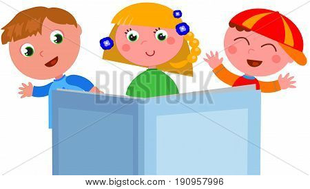 Cartoon happy children and big book with empty cover. vector illustration