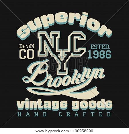t-shirt New York fashion Typography sport emblem design Number with floral ornament graphic Print label