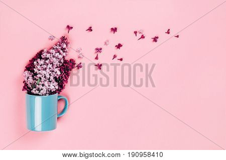 Blue cup with lilac flowers, pouring out of it. Pink trendy background, place for text, flat lay style.