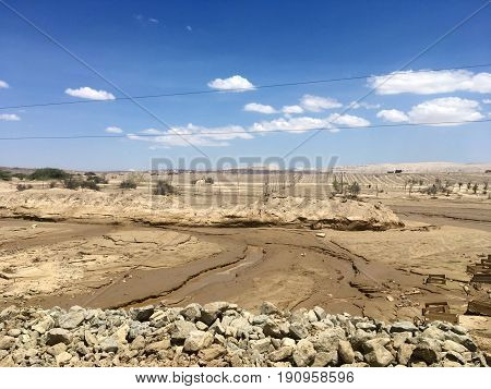 A desert after rains and landslides in Ocucaje - Ica