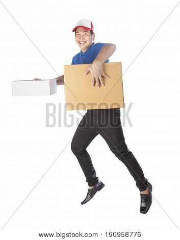 delivery man holding carton box toothy smiling face with service mind isolated white background